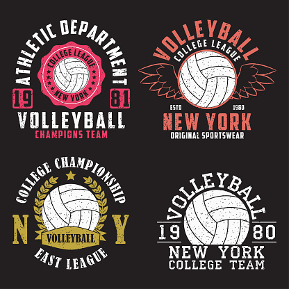 Set of Volleyball New York print for apparel with ball. Collection of vintage typography emblem for t-shirt. Design for athletic clothes. Vector