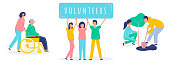 A set of volunteer people who help others. Landscaping the planet. Vector flat illustration on white background