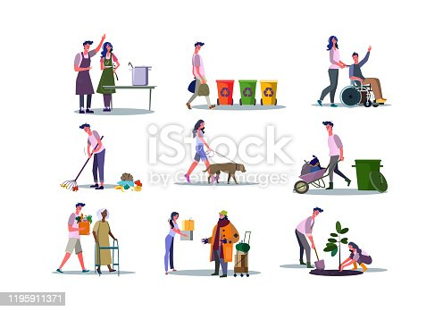 Set of volunteers helping people and caring about environment. Flat vector illustrations of people cooking, recycling. Volunteering concept for banner, website design or landing web page