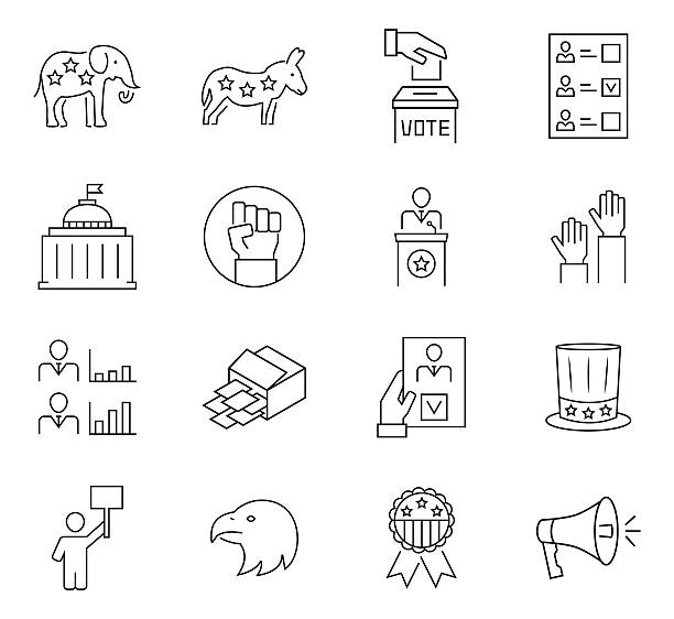 set of vote icon in thin line style. vector symbols. - presidential debate stock illustrations