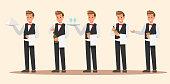 istock Set of Waiter character design. Vector design. 1081796430