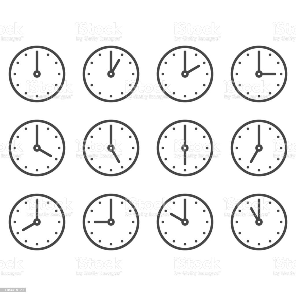 Set of wall clocks for every hour - arte vettoriale royalty-free di Allarme