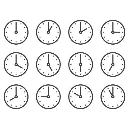 Set Of Wall Clocks For Every Hour - Immagini vettoriali stock e altre immagini di Allarme