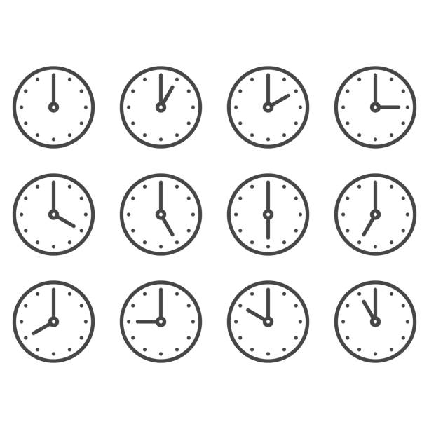 Set of wall clocks for every hour Set of wall clocks for every hour clock stock illustrations