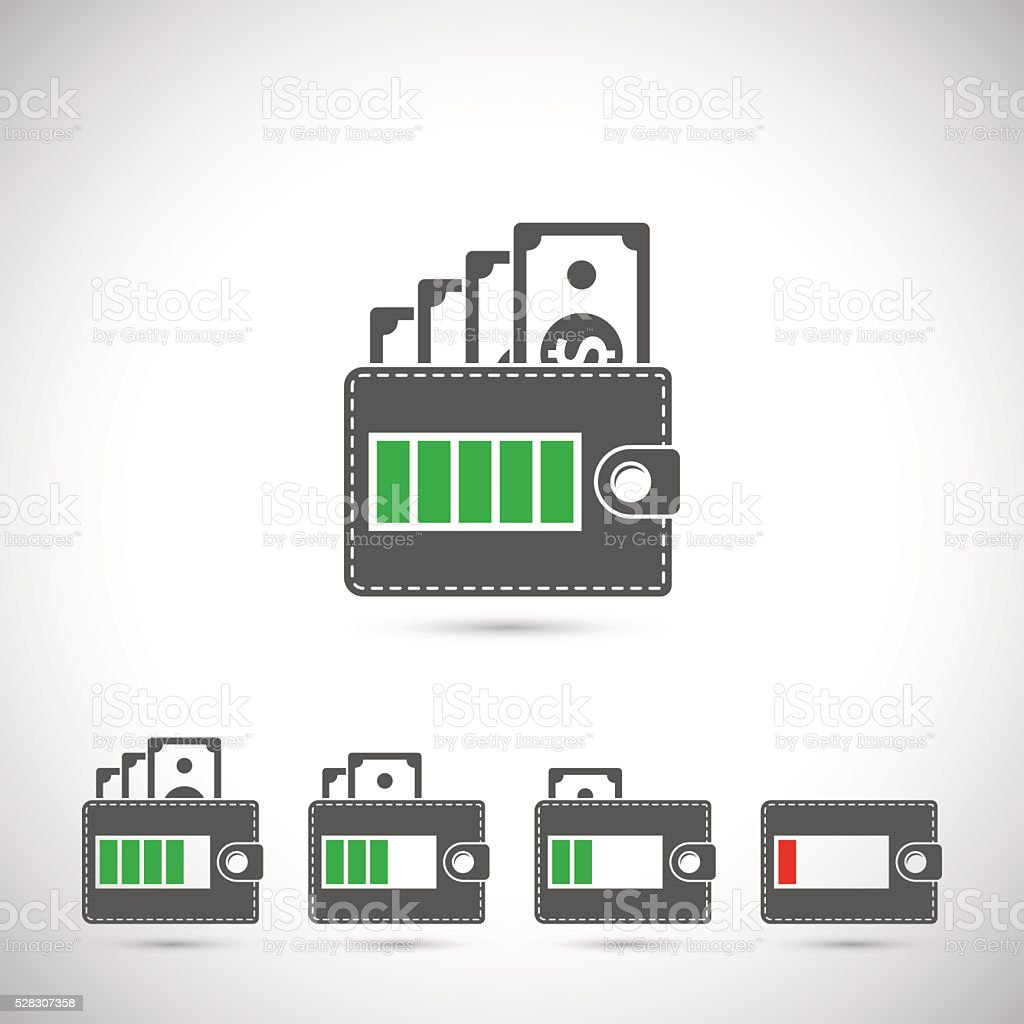 set of wallet icons vector art illustration