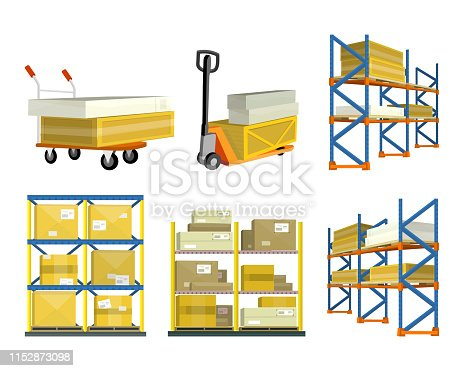 Set of warehouse elements. Warehouse and forklift truck, shelf with cartoon box. Logisti and factory building exterior, business delivery, logistics, storage cargo, delivery and shipping illustration
