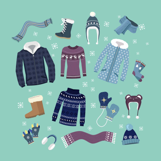 Set of Warm Winter Clothes Design Set of warm winter clothes design. Scarf and winter fashion, winter hat, winter coat, cloth and hat, jacket and glove, coat and boot, outerwear seasonal illustration mitten stock illustrations