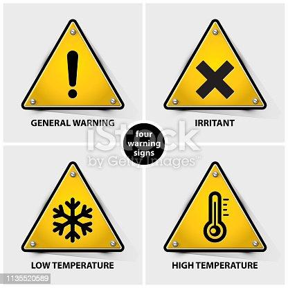 set of warning symbols containing four official international hazard symbols, eps10 vector illustration