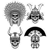 Set of Warrior Skull Characters