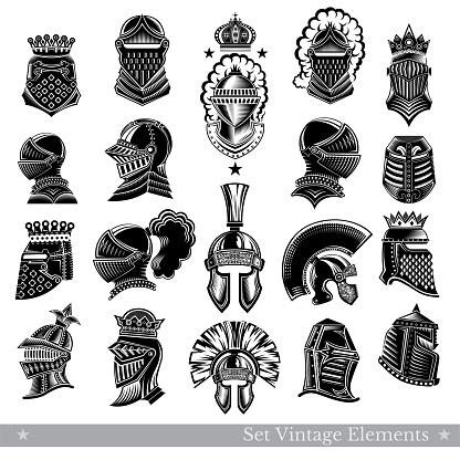 Set of warrior vintage helmets isolated on white