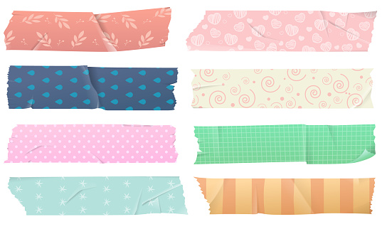 Set of Washi adhesive tapes for decorations, isolated on white background. Scotch tape with a pattern with colorful patterns, decorative tape. Vector illustration
