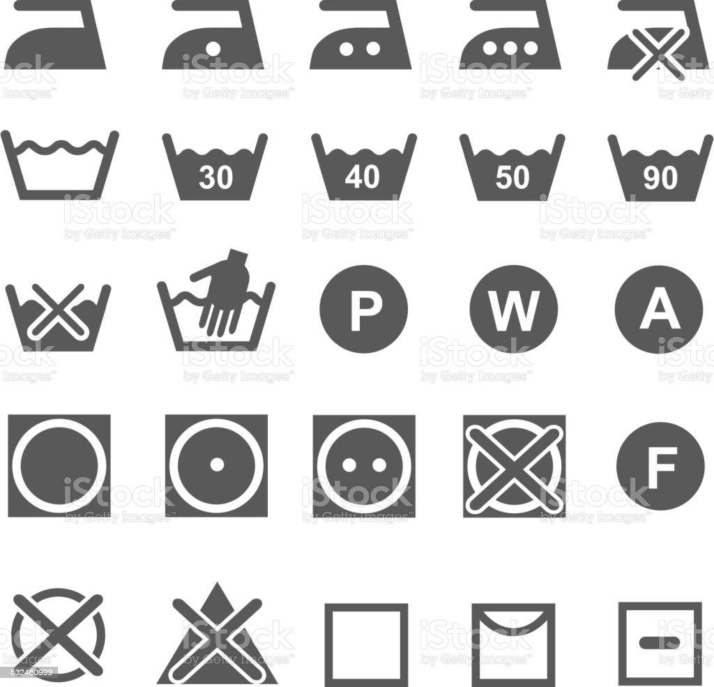 Set Of Washing Symbols Laundry Icons Isolated On White Background