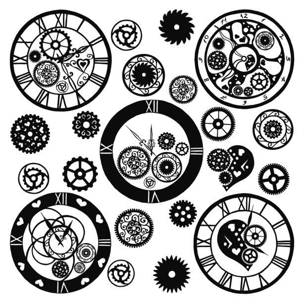 satz von uhren im viktorianischen stil, wie von hand gezeichnet. vektor - steampunk stock-grafiken, -clipart, -cartoons und -symbole