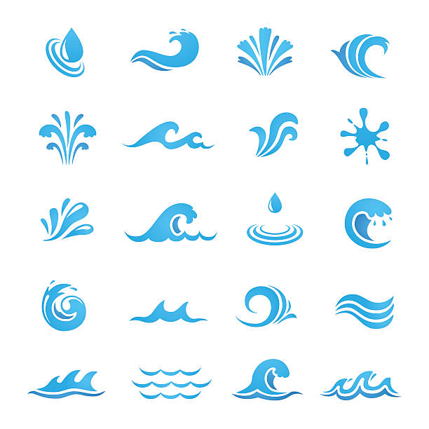set of water design elements - blue clipart stock illustrations