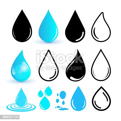 Set of water drop icon. Drop line icon. Flat design. Vector illustration. Isolated on white background