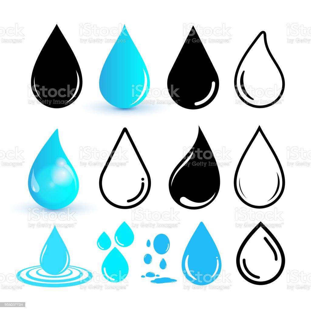 Conjunto de icono de gota de agua. Icono de ubicación de la línea. Diseño plano. Ilustración de vector. Aislado sobre fondo blanco - ilustración de arte vectorial