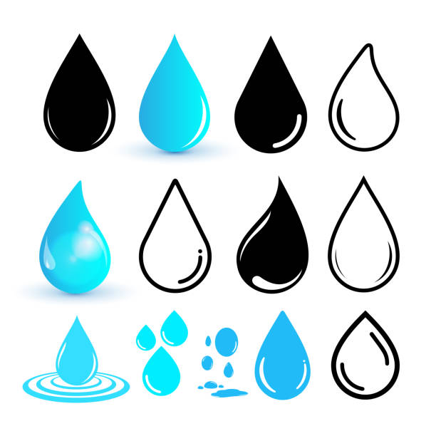 Set of water drop icon. Drop line icon. Flat design. Vector illustration. Isolated on white background vector art illustration