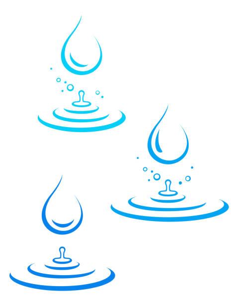 ilustrações, clipart, desenhos animados e ícones de conjunto de ícones de gota de água e respingos - fontes de bolha
