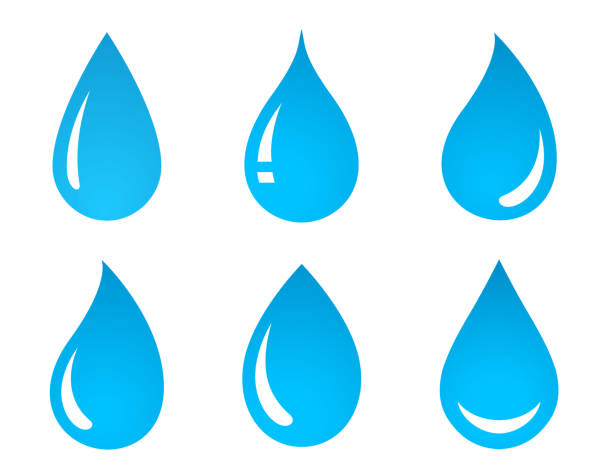 stockillustraties, clipart, cartoons en iconen met set van water drop iconen - druppel