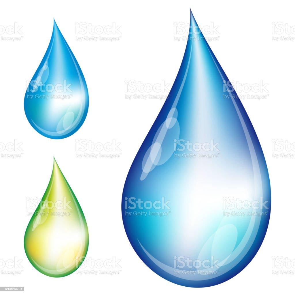 Set of water drops. vector art illustration