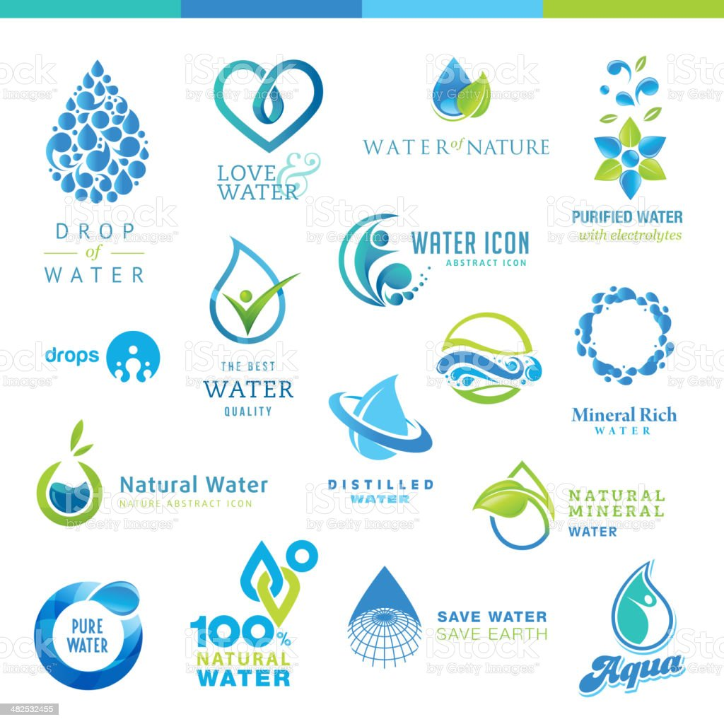 Set of water icons vector art illustration