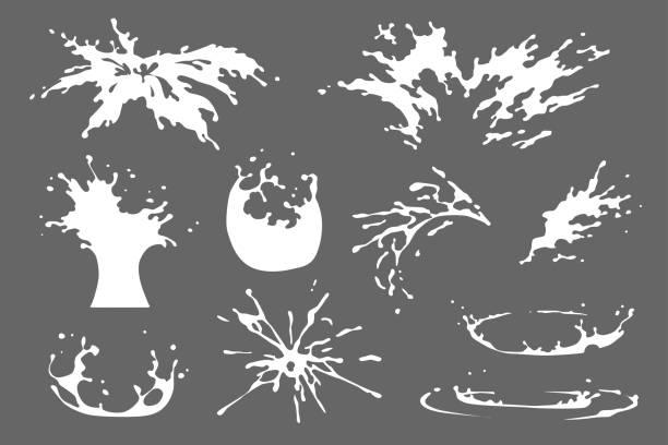zestaw wody, mleka lub jogurtu splash clipart, krople wody i korony przed wpadnięciem do cieczy, izolowane efekty wektorowe projektu. ruch natryskowy, rozpryskiwanie, kroplówka, ilustracja do gry firework 2d vfx - spray stock illustrations