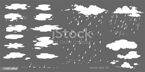 Set of water plashes, puddle. Flow effect vector animation, sprite sheet for game or cartoon or animation. Cartoon steam clouds, puff, mist, fog, watery vapour or dust explosion 2D VFX illustration
