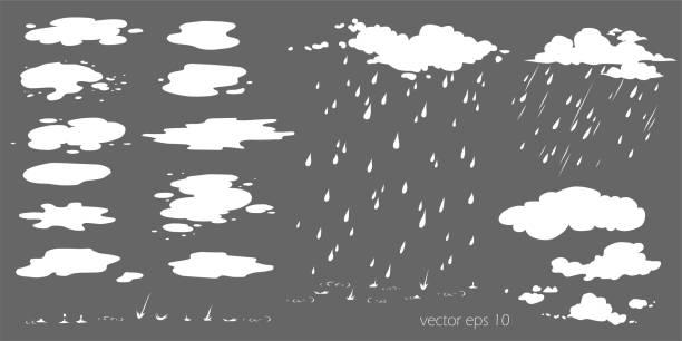 stockillustraties, clipart, cartoons en iconen met reeks waterplashes, plas. flow effect vector animatie, sprite sheet voor spel of cartoon of animatie. cartoon stoomwolken, bladerdeeg, mist, mist, waterige damp of stofexplosie 2d vfx illustratie - mist donker auto