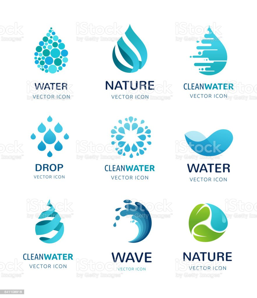set of water, wave and drop icons, symbols vector art illustration