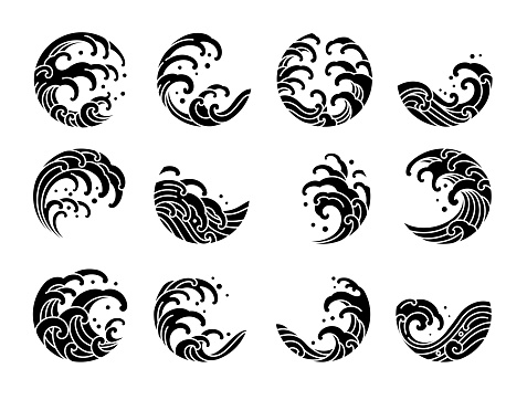 Set of water wave tattoo oriental style vector.