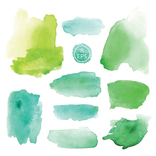 illustrazioni stock, clip art, cartoni animati e icone di tendenza di set of watercolor blots - verde