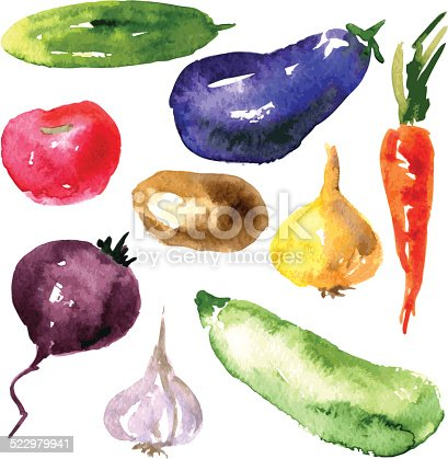 istock Set of  watercolor drawing vegetables 522979941