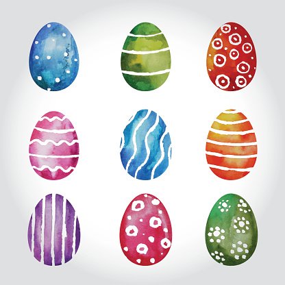 Set Of Watercolor Easter Eggs