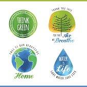 set of watercolor environmental labels, vector illustration