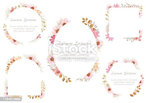 Set of watercolor floral frames isolated on white background. Vector illustration.