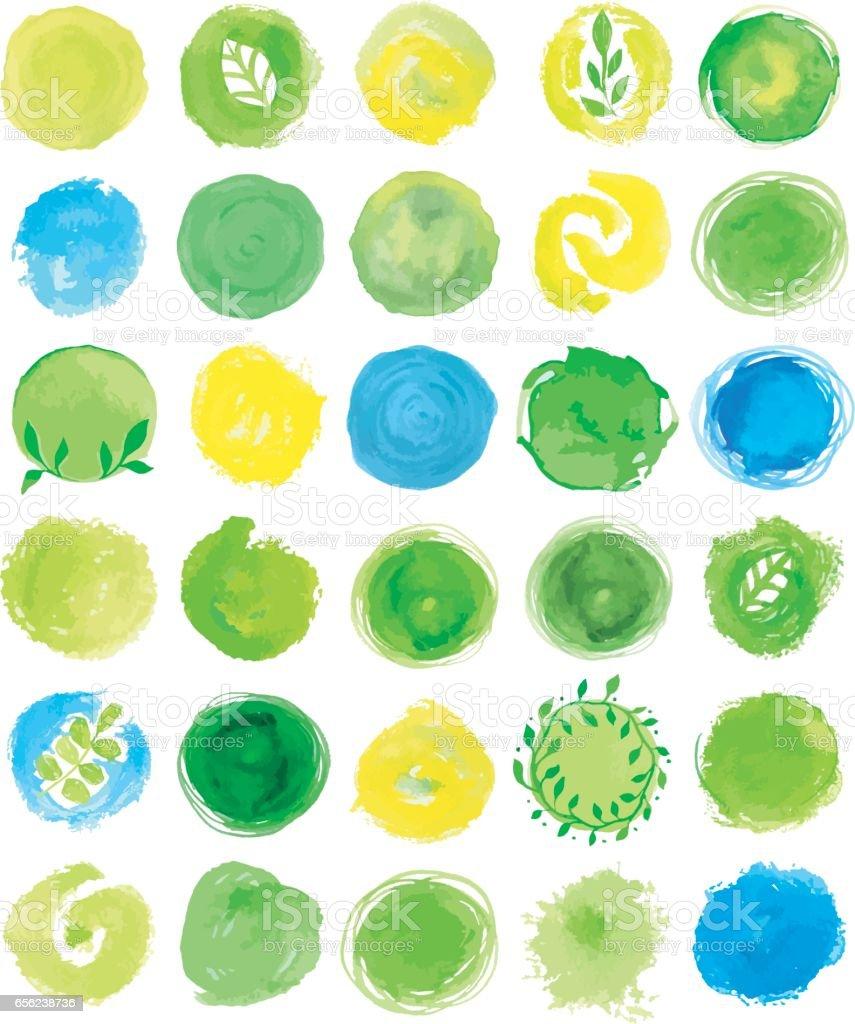 Ein Satz von Aquarell green-logo. – Vektorgrafik