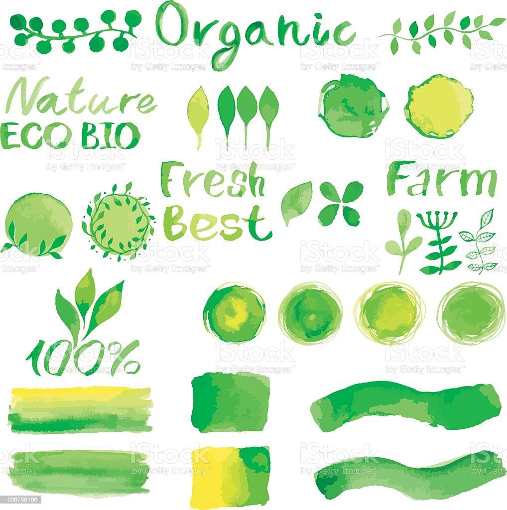 Ensemble d'aquarelle logos verte avec caractères en métal, texte Mots, Branc - Illustration vectorielle