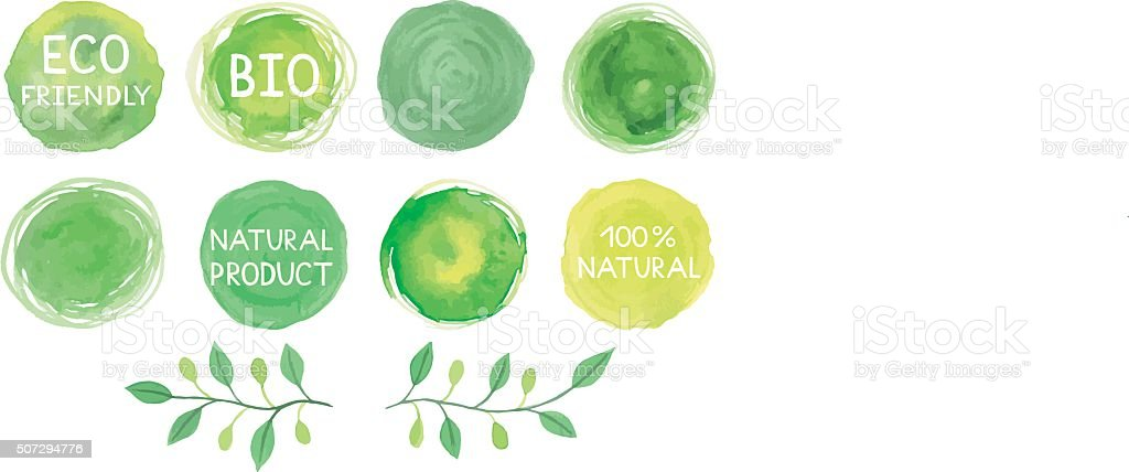 Set of watercolor green logos with lettering, text, words, branc vector art illustration