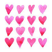 Set of watercolor hearts for romantic post card.
