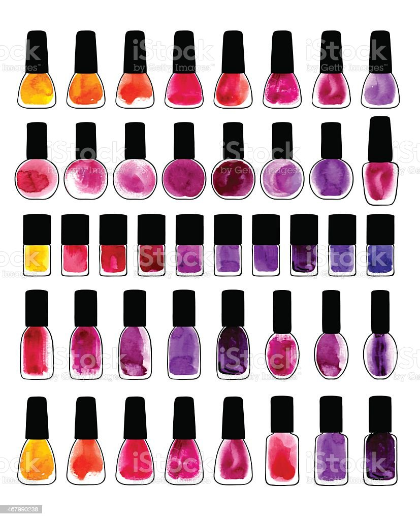 Set of watercolor painted nail polishes vector art illustration