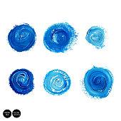 Watercolor blue brush collection, splatter watercolor design