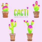 Set of watercolor pink and green cacti with terracotta pots isolated on pink background. Tropical background, tropical design element, summer concept.