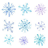 Set of watercolor snowflakes. Christmas decor. Vector