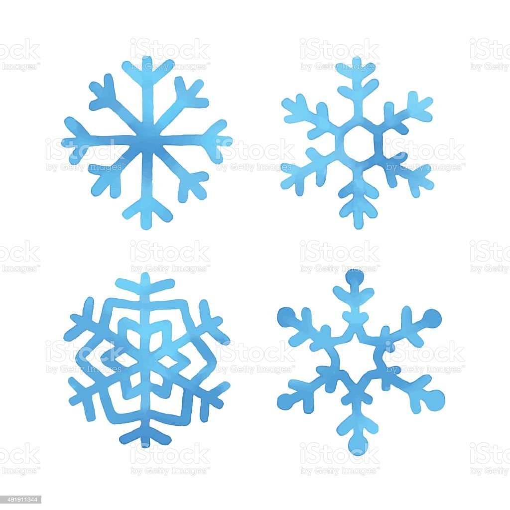 Set of watercolor snowflakes vector art illustration