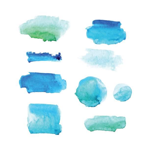 illustrations, cliparts, dessins animés et icônes de ensemble de taches aquarelles en couleurs bleus et verts isolés sur fond blanc. collection de vector. - aquarelle sur papier