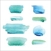 Set of watercolor spots in blue and green colors isolated on white background. Vector collection.