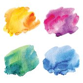 Set of four colorful watercolor stains. Hand painted abstract background. Vector illustration.