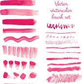 Set of watercolor vector brush strokes.
