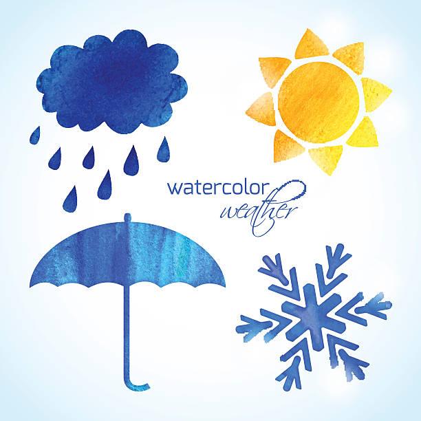 stockillustraties, clipart, cartoons en iconen met set of watercolor weather icons - regen zon