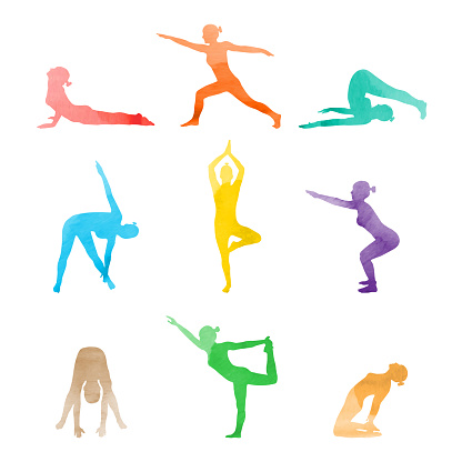 Set of watercolor woman in various yoga poses stretching. Vector